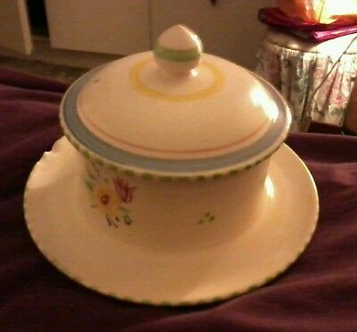 Vintage Beautiful POOLE jam pot with lid on a saucer, attached