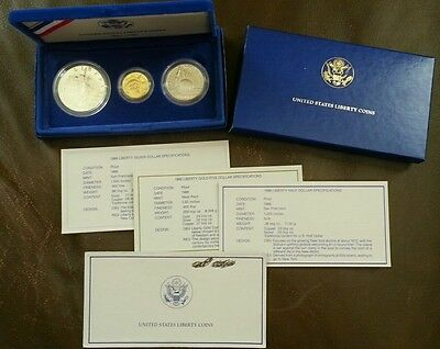 1886-1986 statue of liberty 3 coin proof set w/gold $5 & Silver $1 - FREE SHIP