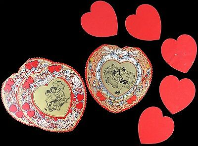 3 vintage 1940s 1950s heart shaped valentines day cards 5 red
