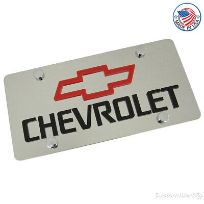 Chevrolet Laser-Cut Red Bowtie Logo & Name On Polished License Plate