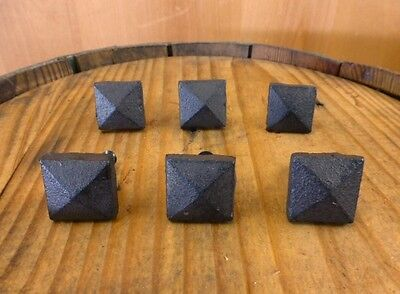 """Set 6 Brown Square Shaped 1"""" Drawer Door Cabinet Knobs Pulls Cast Iron Pyramid"""