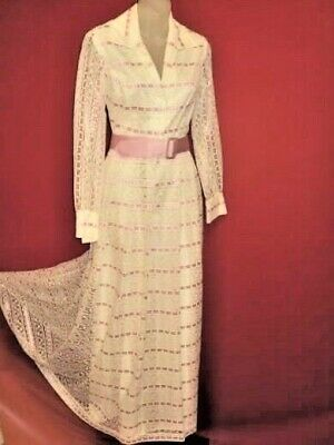 Vtg 60's Floral Lace Overlay Pink inset Dress Sz 7 8 Wedding Garden Party lovely