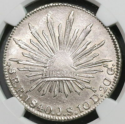 1840-Pi JS NGC AU MEXICO Silver 8 Reales Very Scarce Potosi Coin (17011802C)