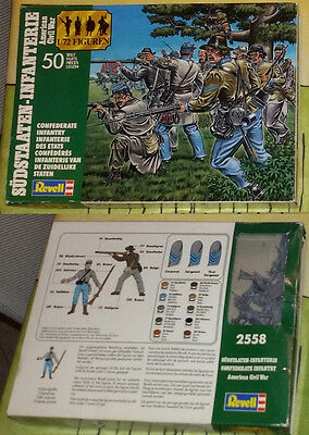 REVELL 1/72 AMERICAN CIVIL WAR - 2558 Confederate Infantry  - COMPLETE BOX LOOSE