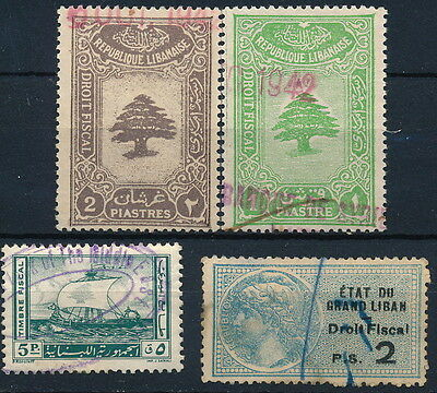 Lebanon , French Mandate, Nice Lot Of 4 Diff. Used Revenues  #a2552