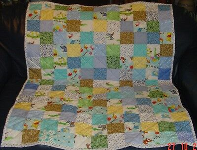 "Handmade Baby Crib Boy Quilt, Winnie Pooh Characters/Curious George 39""x49"", New"