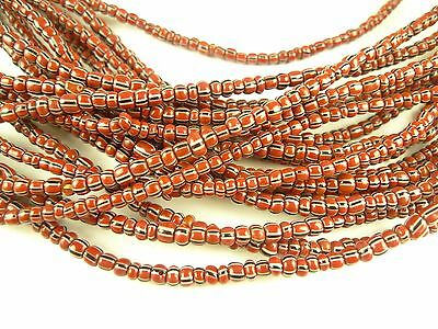 "26"" strand maroon striped Czech glass seed trade beads African tribal AA-0040"