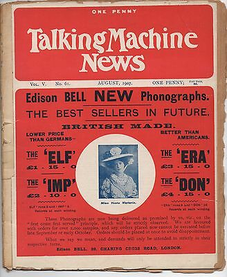 1907 Issue of The Talking Machine News from England w/ Phonograph Advertising