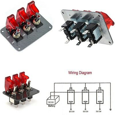 New 3 Toggle Switch Panel Carbon Fiber For Race Cars Trucks Vans Modification