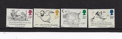 1988 . EDWARD LEAR  4 STAMPS from f.d.c. FINE USED, SCOTT # 1226  - 1229
