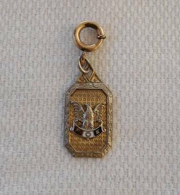 Vintage Fraternity Eagles Art Deco Watch Fob Necklace Pendant Etched Gold Tone