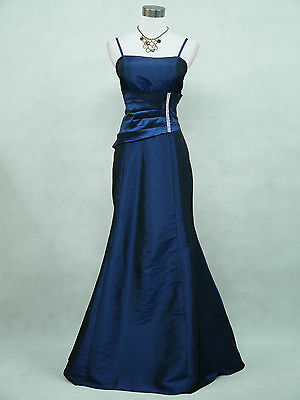Cherlone Satin Dark Blue Sparkle Long Prom Ball Gown Party Evening Dress 22-24