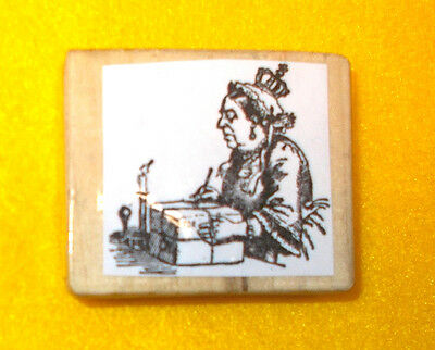 Vintage Queen rubber stamp Royals woman lady signing packlage candle scene odd