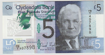 2015 £5 Five Pound Clydesdale Bank  Scotland Note Uncirculated 898