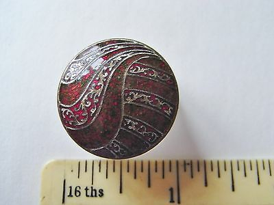unusual  enamel button red tone
