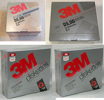 "Lot of 4 - Combo New 3M Floppy Disks 5 1/4"" DSDS 3 1/2"" DSHD -- Made in USA"