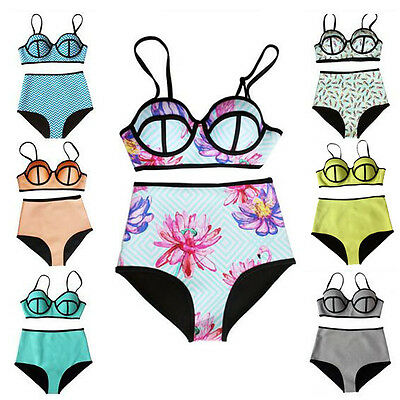 Women High Waisted Bikini Set Swimsuit Push up Monokini Bra Beachwear Swimwear