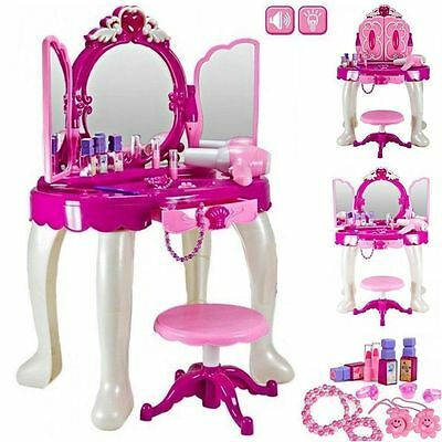 Glamour Mirror Dressing Table Girl Pink Pretend Toy Role Play Makeup Vanity Xmas