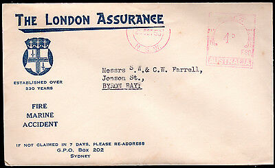 1958 THE LONDON ASSURANCE FIRE MARINE ACCIDENT Australia NSW 4d Meter Cover