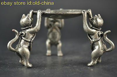 China First-rate Old Tibet Silver 3 Cat Hold Taiji Pattern Used Rare Candlestick