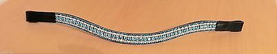 BLING!*Dressage*Mega-Sparkly  Browband*5Row Crystals*Turquoise/CLEAR BLACK FULL