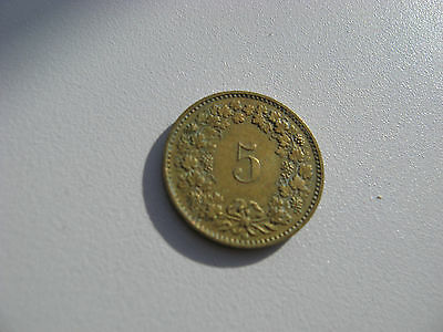 1986 Swiss 5 Rappen Coin.