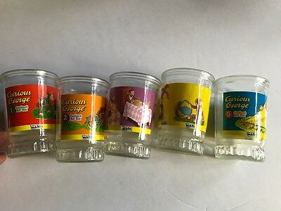 5 Welch's juice glasses vintage Curious George 1-5 good condition