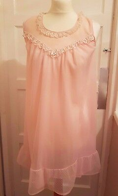 Vintage 70's Pale Pink Double Layer Nylon Nightie 8 Small 32