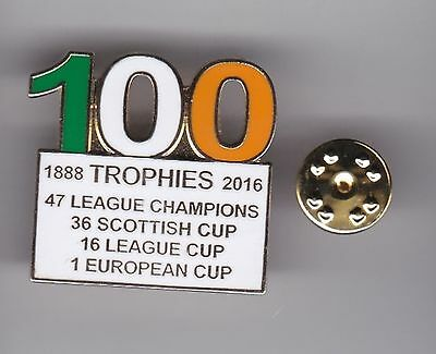 """Celtic """" 100 Trophies """"  - lapel badge butterfly fitting"""