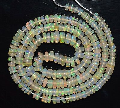 """34.90 Cts 16"""" Natural Ethiopian Welo Fire Opal Smooth Rondelle Beads FO255"""