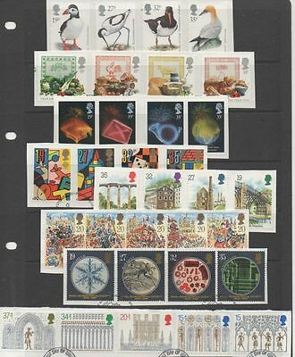 GB 1989 complete year-set of commemoratives 8 fine used sets of stamps on Piece