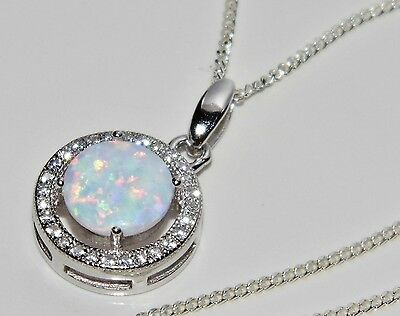 Sterling Silver (925) Opal Cabochon Halo Cluster Pendant & 18 inch Chain -