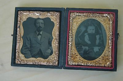 ANTIQUE TINTYPE 1/9 PHOTOGRAPH OF Man & Baby IN CASE Waterbury Worcester
