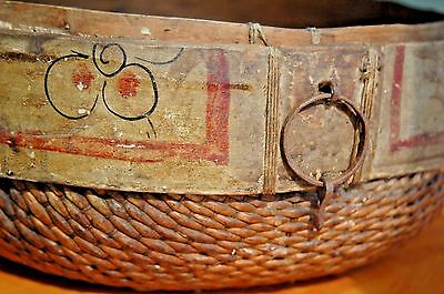 "Large Antique Chinese Woven Rice Gathering Basket; Wood Painted Rim 15"" x 6"""