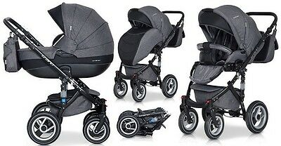 RIKO BRANO PRAM 3in1  CARRYCOT + PUSH CHAIR + CAR SEAT