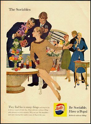 1959 Vintage ad for Pepsi Cola/Beautful lady in tan dress  (101812)