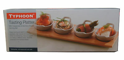 Typhoon Set 4 Mini Casserole Tasting Platter and Bamboo Board Serving Set