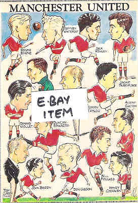 """MANCHESTER UNITED Team in Caricatures 1950s   6""""x4"""" Coloured  REPRINT"""