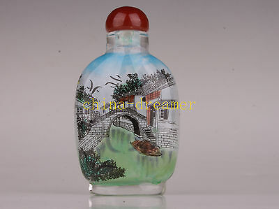 Jiangnan Scenery Snuff Bottle Box Inside Glass Painting Collectable DecorationH