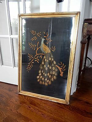 Art Nouveau Antique Embroidery Peacock Bird Gilt Framed Silk Deco Gold Victorian