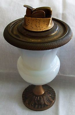 VINTAGE TABLE LIGHTER * Opalescent Glass and Brass * Very Elegant and Stylish