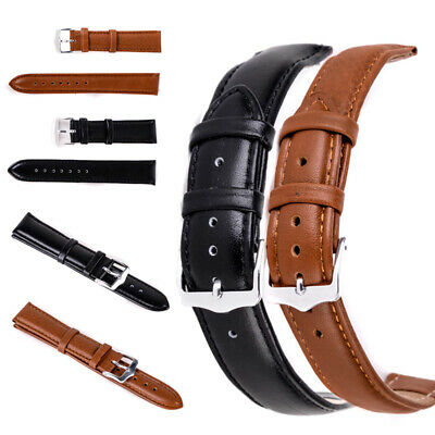 12mm-24mm Unisex Genuine Leather Black Brown Watch Strap Band Womens Mens
