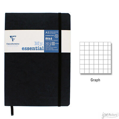 "Clairefontaine My Essential Paginated Notebook 5.8"" x 8.3"" (A5), Graph, Black"