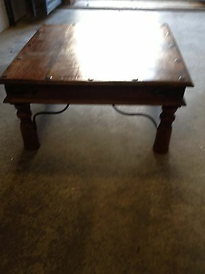 Large square solid wood coffee table with metal work