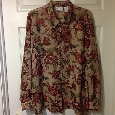 Alfred Dunner Womens Long Sleeve Button Front Blouse Shirt Top, Size 18
