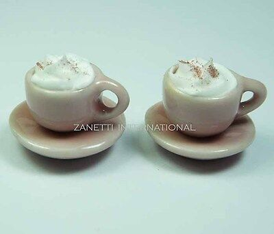2 Dollhouse Miniature Cups of Coffee * Doll Mini Food Drink Saucers Cream