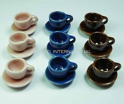 18-Piece Dollhouse Miniature Mixed Ceramic Cups & Saucers Set *Dishes Plates Cup