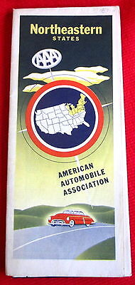 Northeastern United States Map American Automobile Association AAA 1953 c
