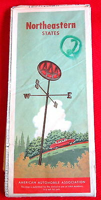 Northeastern United States MAP American Automobile Association AAA 1956 c