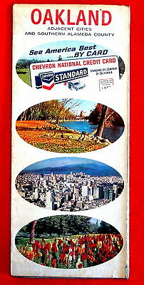 City of Oakland California Chevron Standard Streets Map 1968 t4c